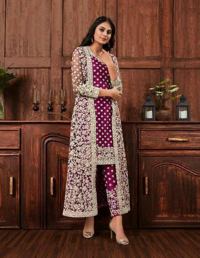 Beautiful Amazing Purple Color Embroidery Work Top With Pent online available