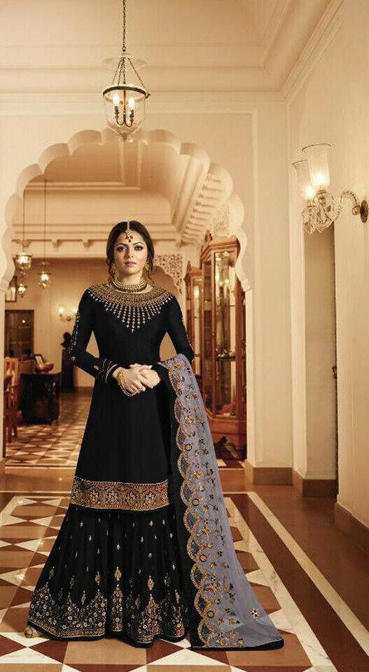 Beautiful Black Color Sharar Suit