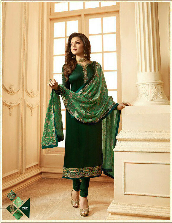 Beautiful Dark Green Colored Partywear Salwar Suit With Embroidery Work