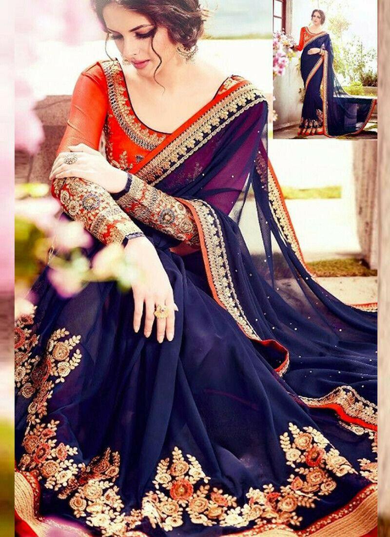 Beautiful Georgette Designer Saree In Navy Color
