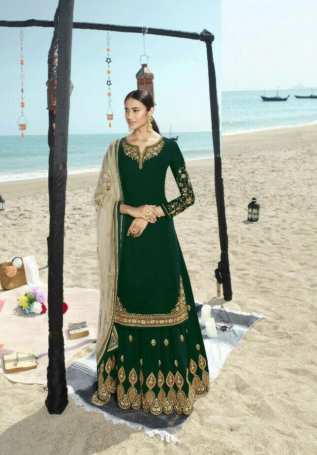 Beautiful Latest Designer Green Color Sharara Suit