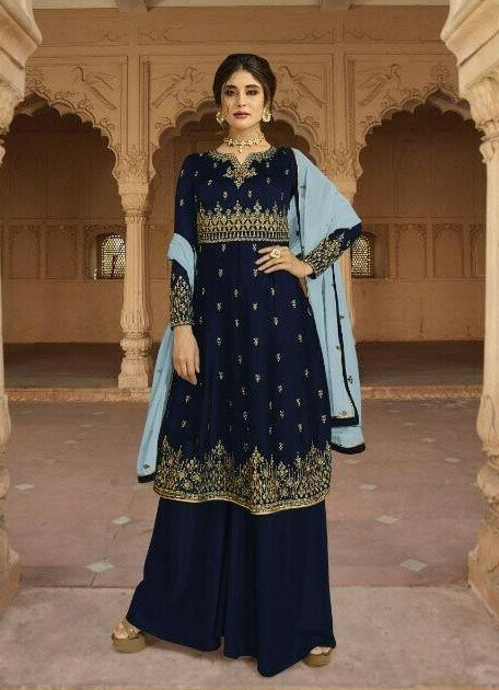 Beautiful Navy Blue Color Georgette Sharara Suit