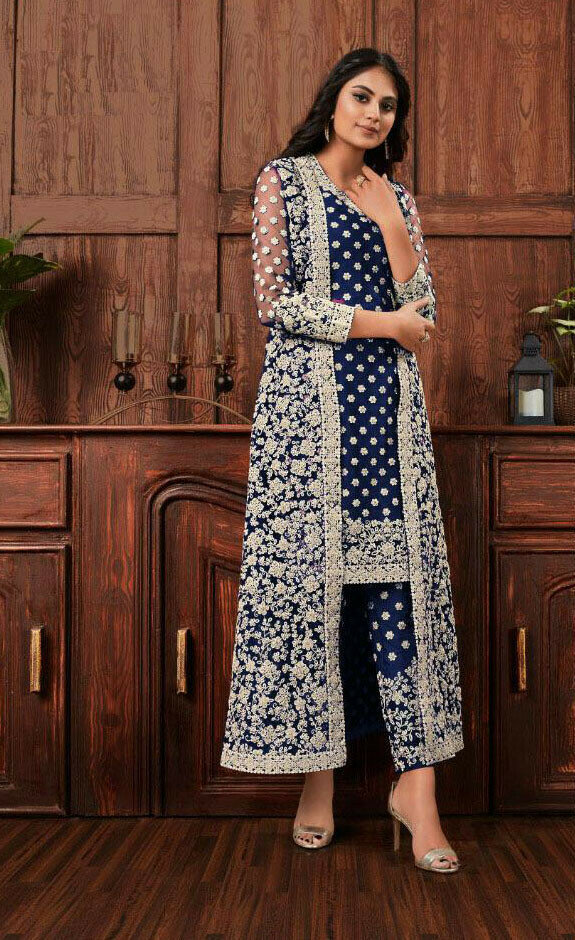 Beautiful Party Wear Navy Blue Embroidery Work Top With Pent online available