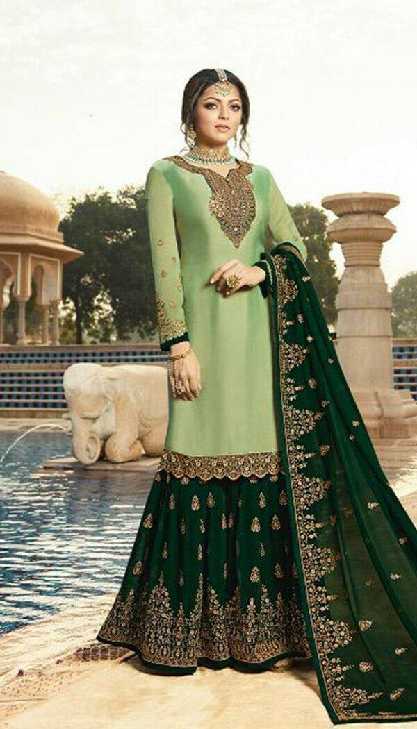 Beautiful Pista Colored Silk Embroidary Work Sharara Suit