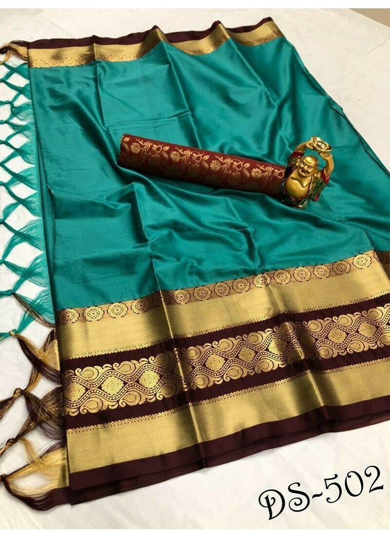Beautiful Rama Cotton Silk Saree