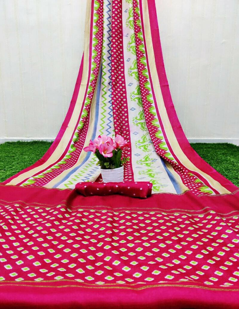 Beautiful Rani Pink Printed Saree