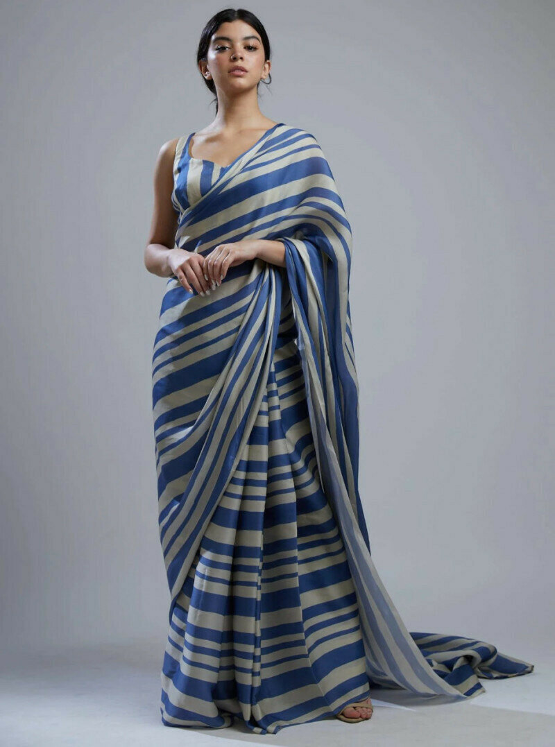 Beautiful Sky Blue Printed Saree