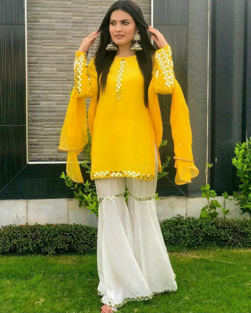 Beautiful White And Yellow Color Sharara Suit