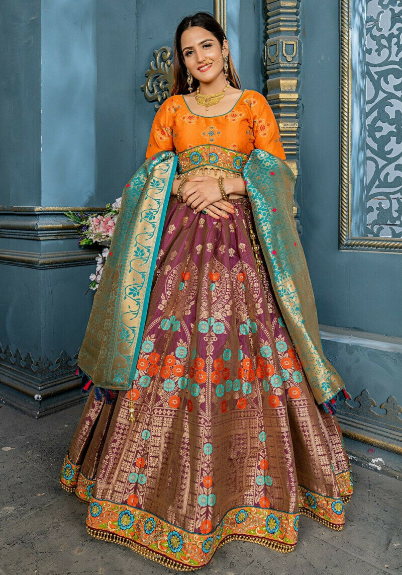 Beautiful Wine Color Bridal Wear Embroidery Work Lehenga Choli