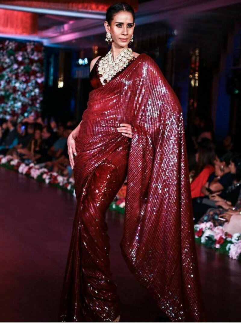 Beautiful Women Premium Georgette Full Sequence work Party Wear Saree (Red)