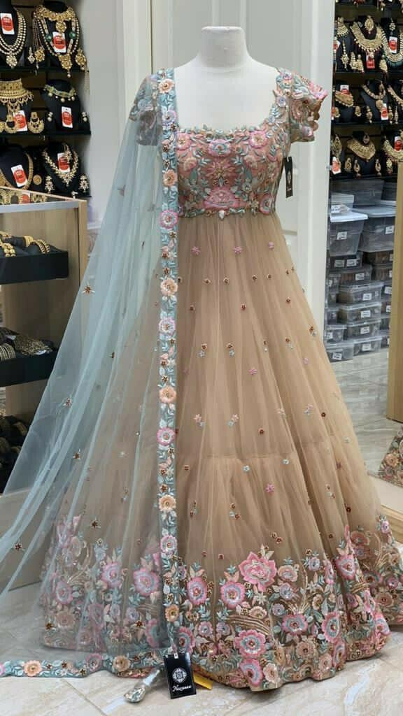 Beige Color Wedding Wear Anarkali Suit