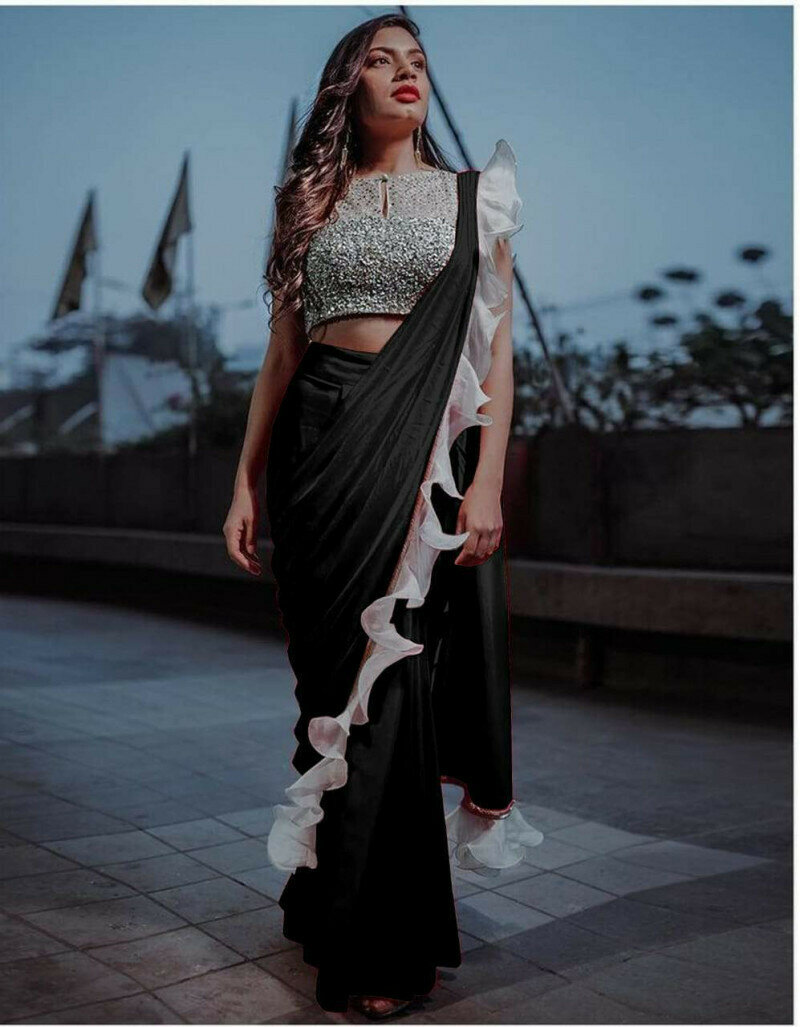Bewitching Black Silk With Ruffle & Sequence Lace Designer Fancy Saree Online