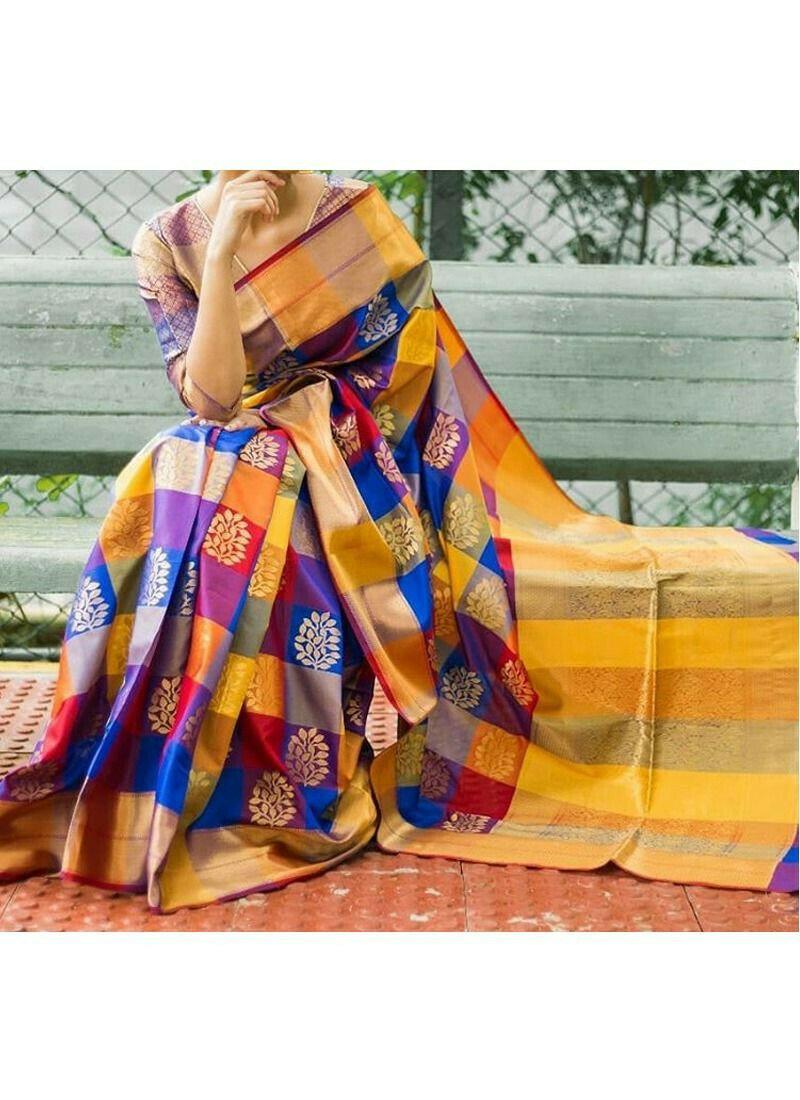 Bhelpuri Multi Color Silk Woven Saree with Blouse Piece