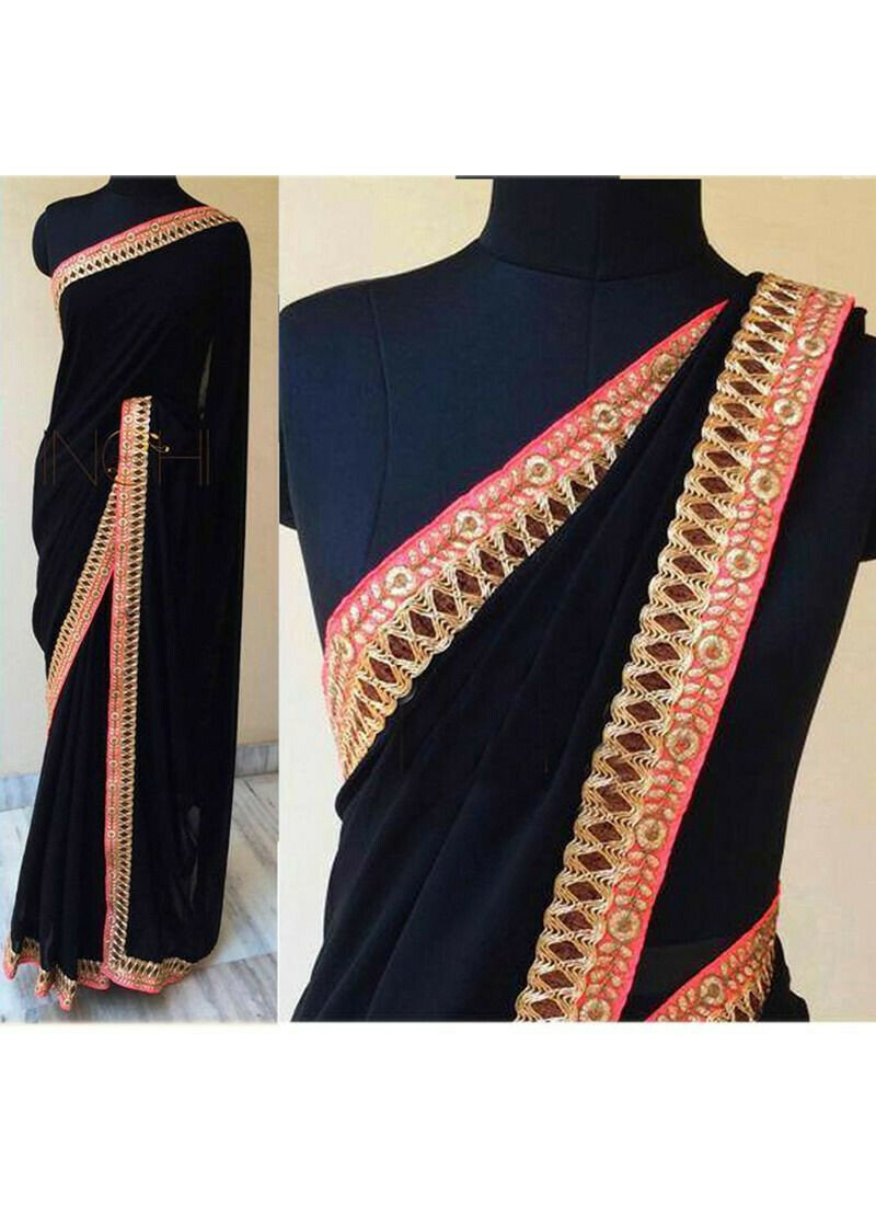 Black And Red Georgette Thread Work Traditional Saree