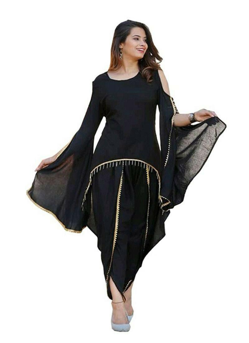 Black Casual Ladies Dhoti Patiala Suit
