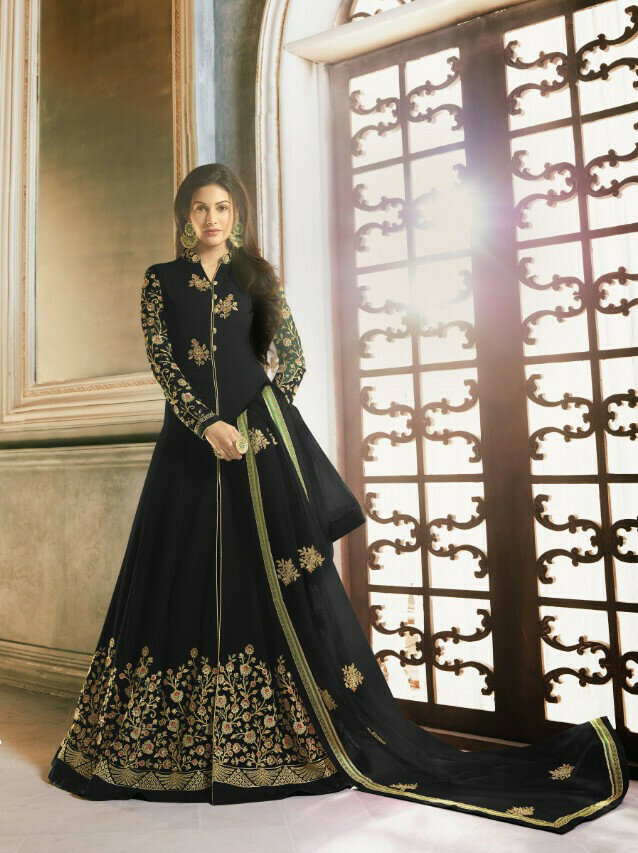 Black Color Embroidery Work Anarkali Suit