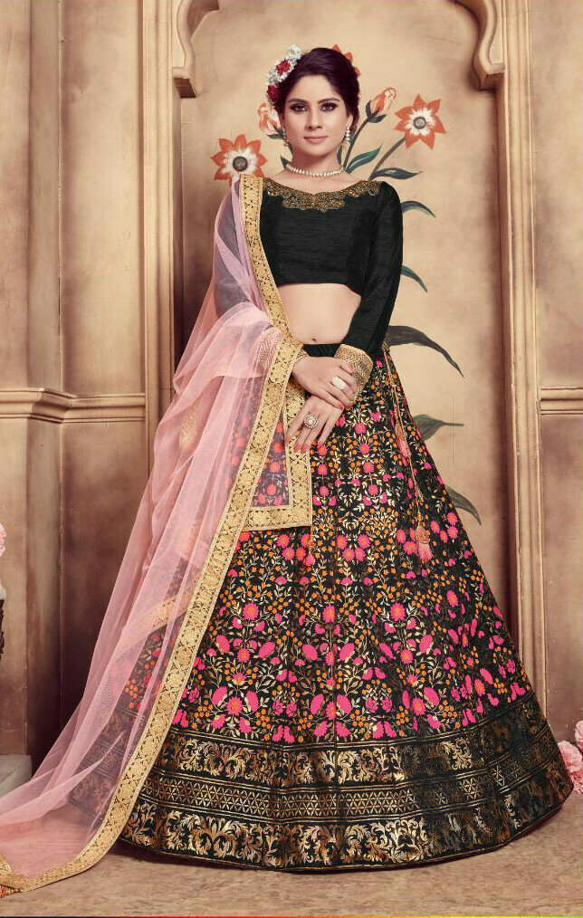 Black Color Heavy Embroidered Wedding Wear Lehenga