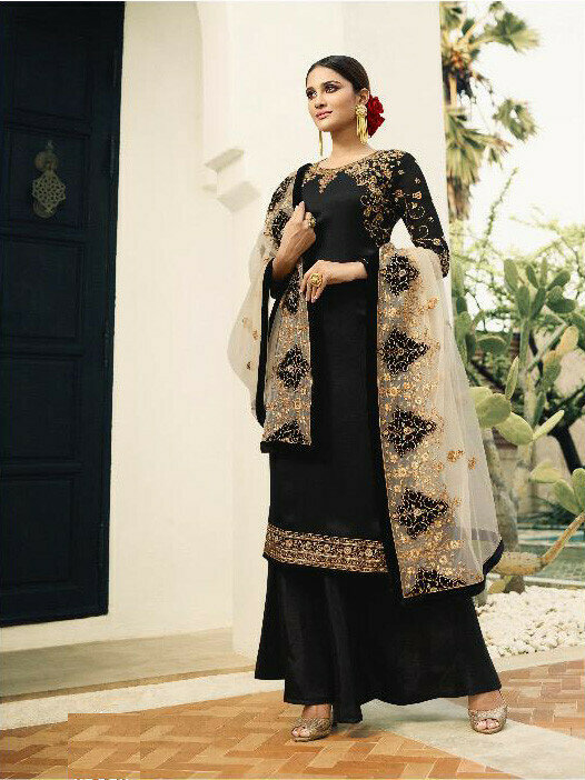 Black Color Heavy Embroidery Georgette Palazzo Suit