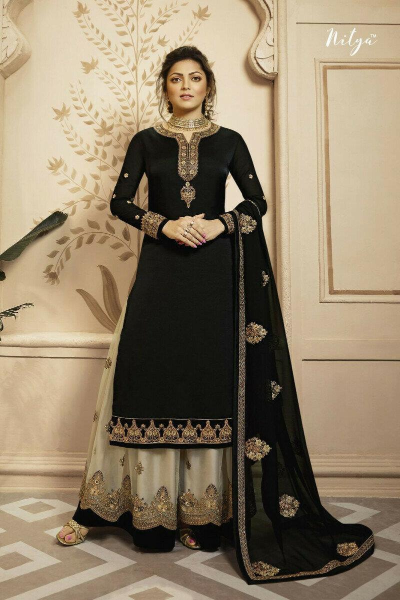 Black Color Sharara Georgette Plazzo Suit