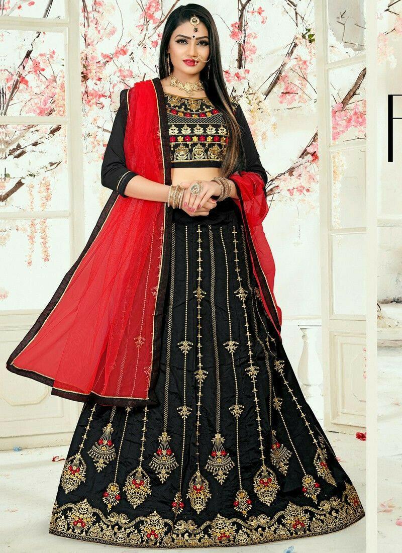 Black Designer Wedding Lehenga Choli With Taffeta Silk Fabric