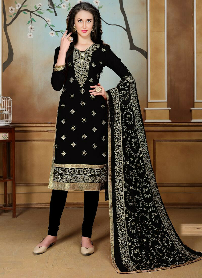 Black Faux Georgette Aanaya Latest Style Churidar Salwar Kameez