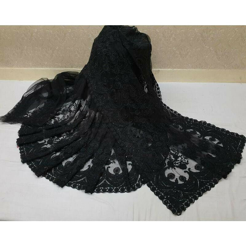 Black Heavy Embroidery Soft Net Party Wear Designer Saree