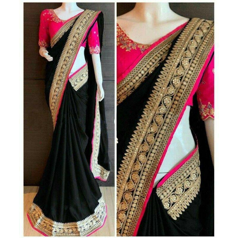Black Paper Silk Fancy Saree Collection