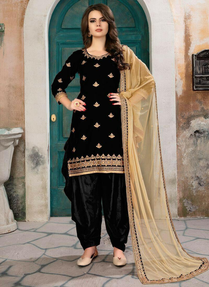 Black Velvet Embroidered Designer Aanaya Latest Style Punjabi Suit