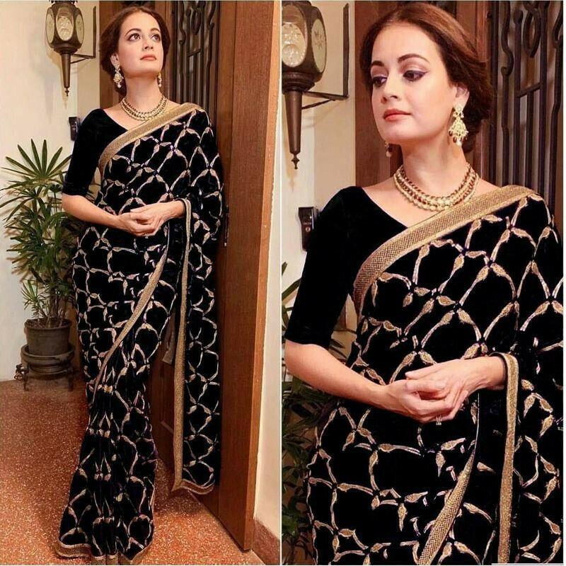 Black Vichitra Silk Heavy Embroidery Saree
