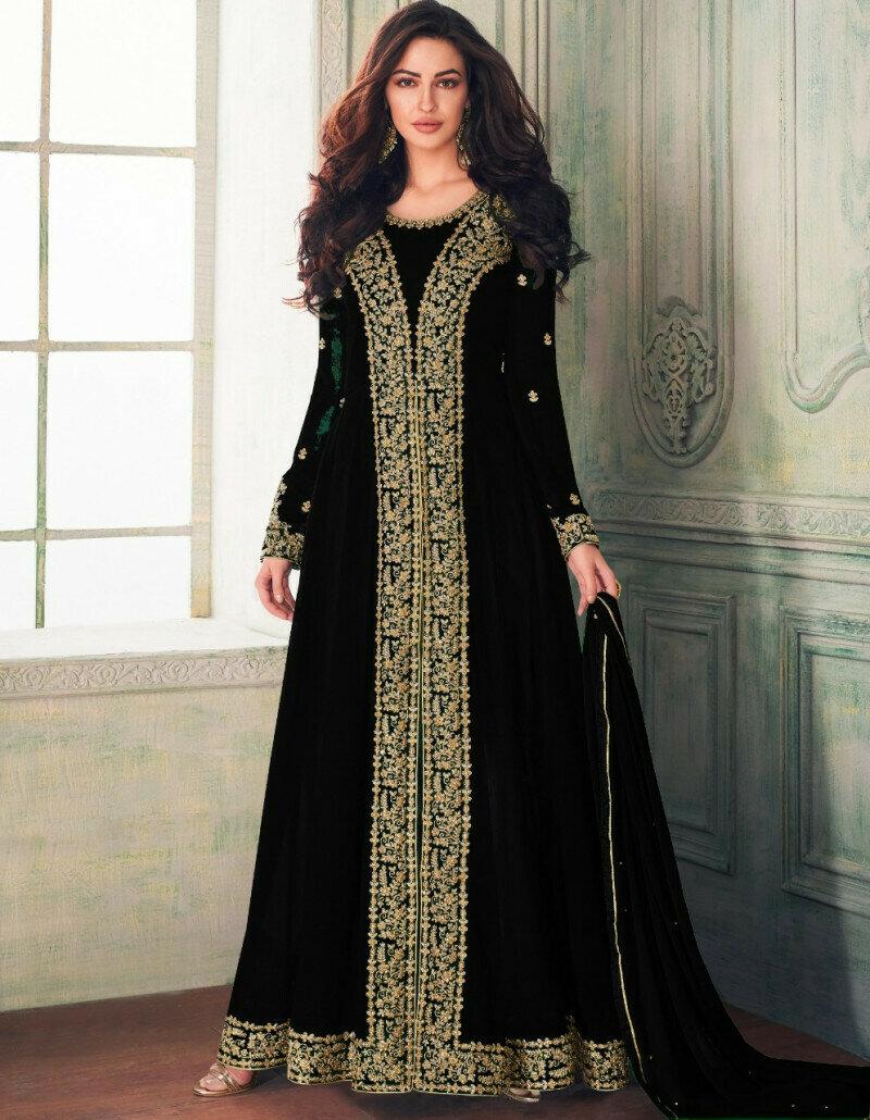 Blooming Black Color Faux Georgette  Party Wear  Suit