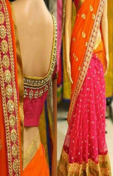 Blooming Pink And Orange Color Designer Soft Silk Saree