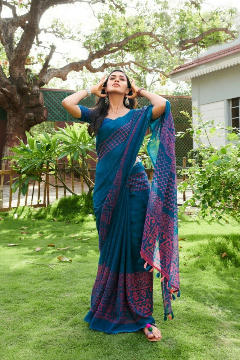Blue & Green Two Tone Designer Printed Linen Saree With Blouse For Ladies