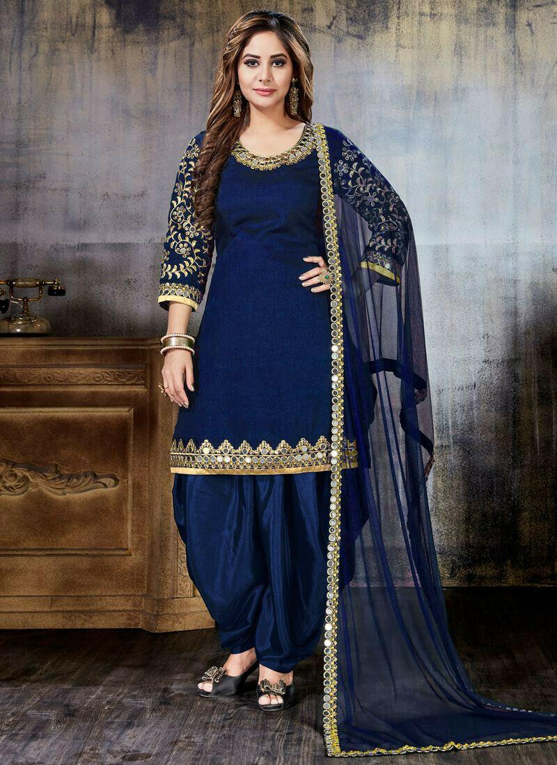 Blue Art Silk Embroidered Punjabi Suit