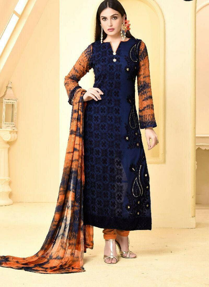 Blue Chiffon Straight Salwar Suits