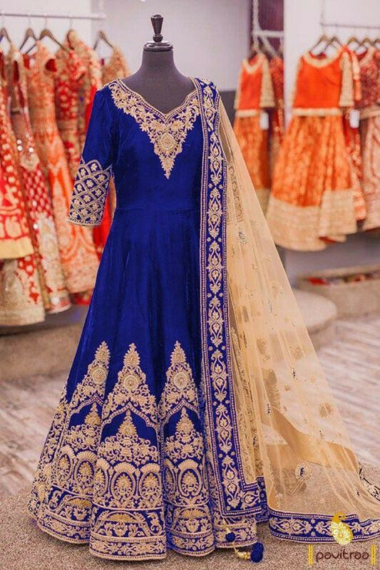 Blue Color Heavy Gown