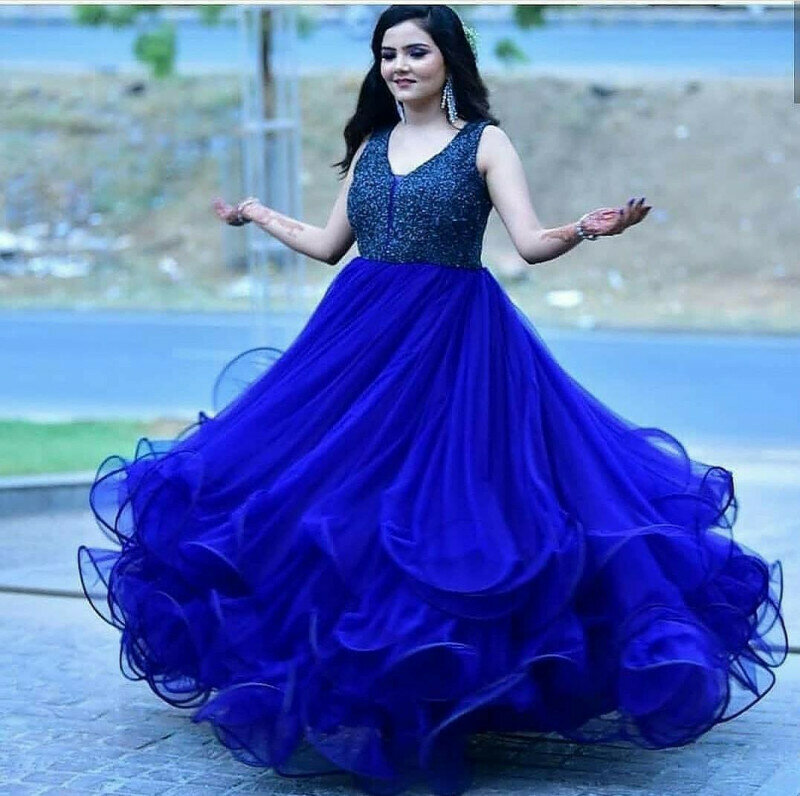 Blue Color Net With Heavy Embroidery Work Gown
