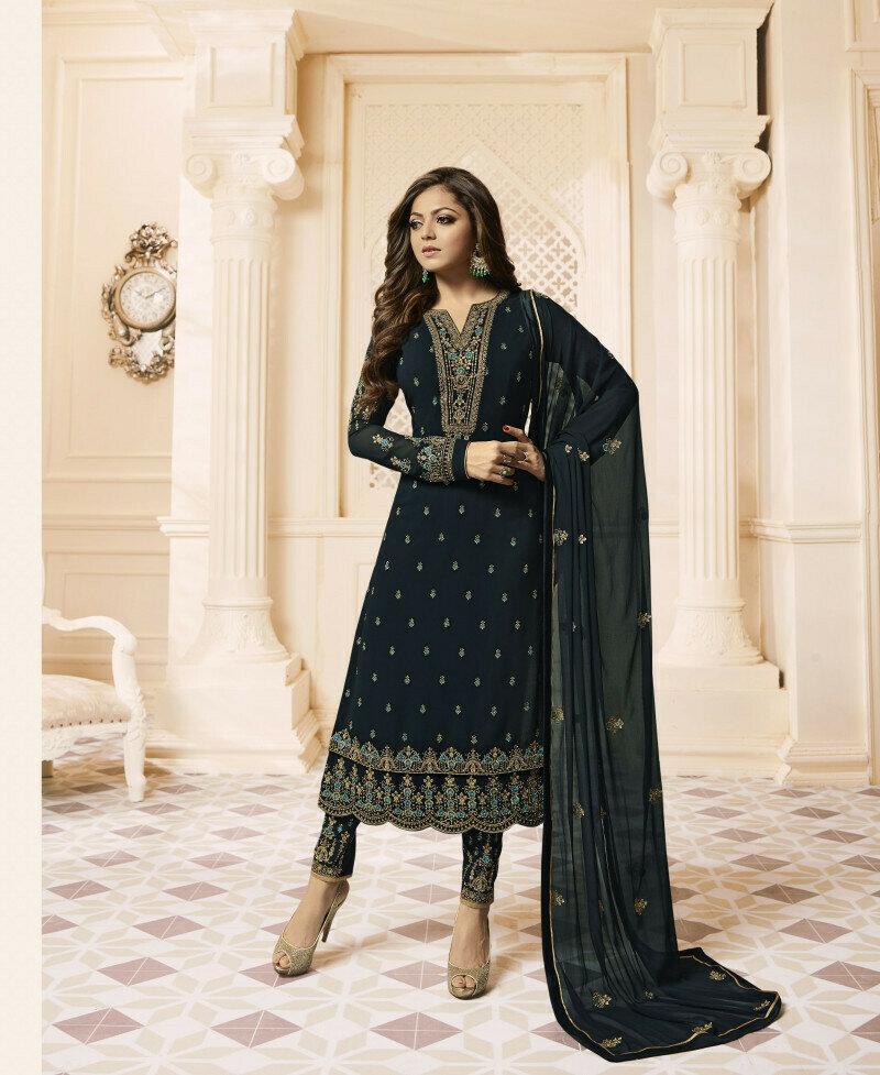 Blue color straight cut Georgette fabric Suit