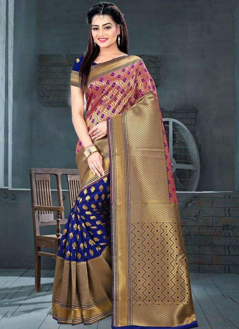 Blue Color Traditional Minakari Lichi Silk Saree With Heavy Pallu