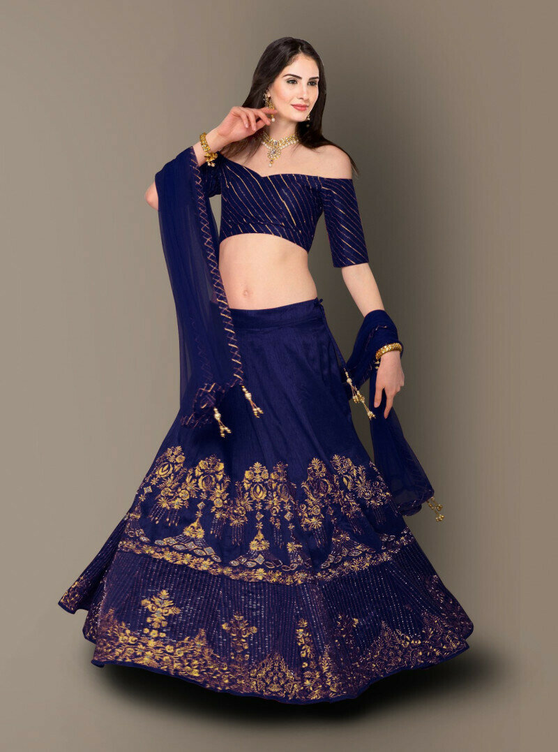 Blue Color Wedding wear Bangalore Silk Lehenga Choli