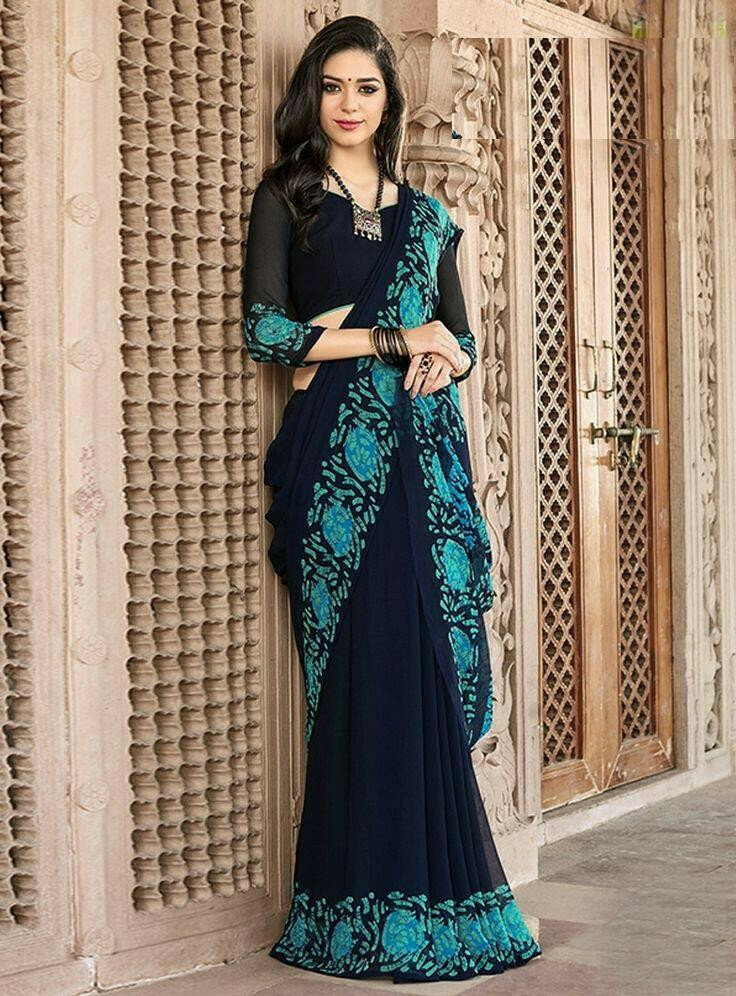 Blue Colored Designer Embroidered Party Wear Moss Chiffon Saree For Women