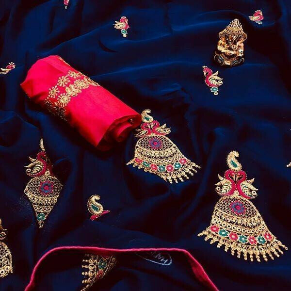 Blue Colored Party Wear Embroidered Chiffon Saree For Women