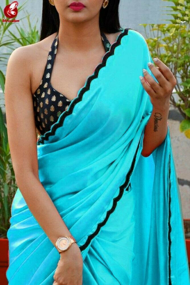 Blue Colored Silky Chiffon Party Wear Embroidered Saree For Women