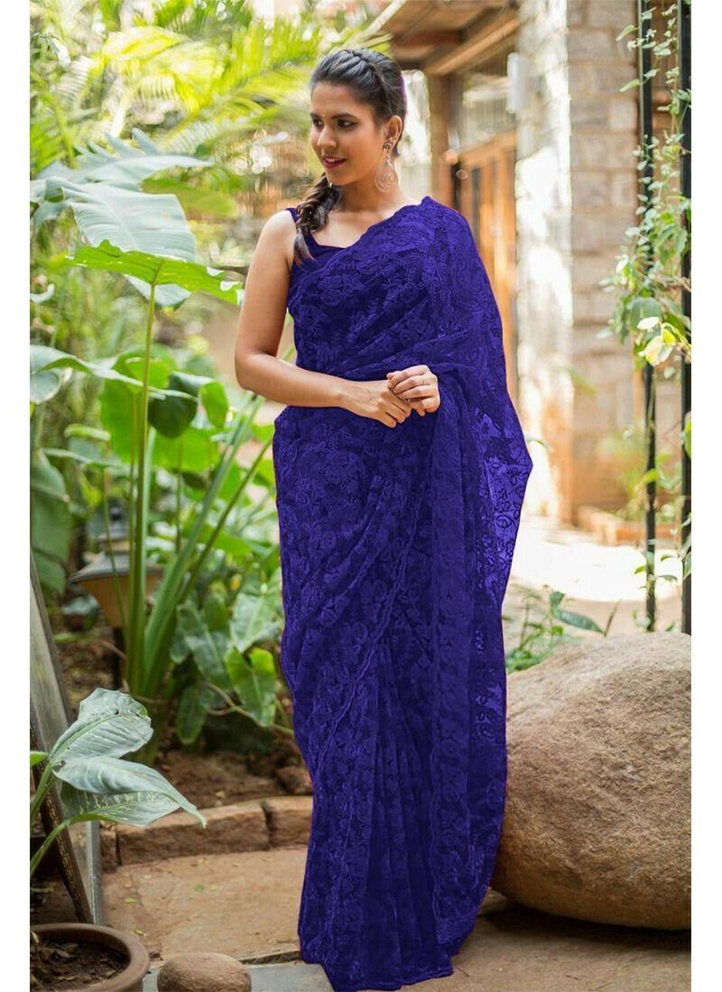Blue Fancy Thread Work Naylon Net Party Wear Designer Saree