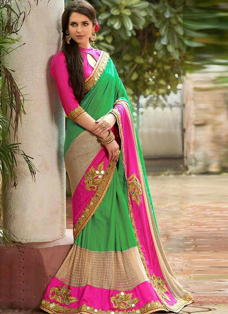 Blue Lycra Indian Saree Fashion