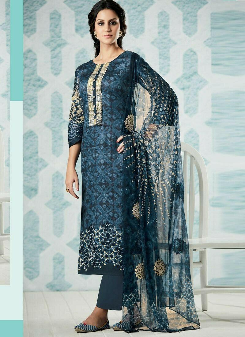 Blue Satin Cotton Patch Work Designer Straight Cut Suit
