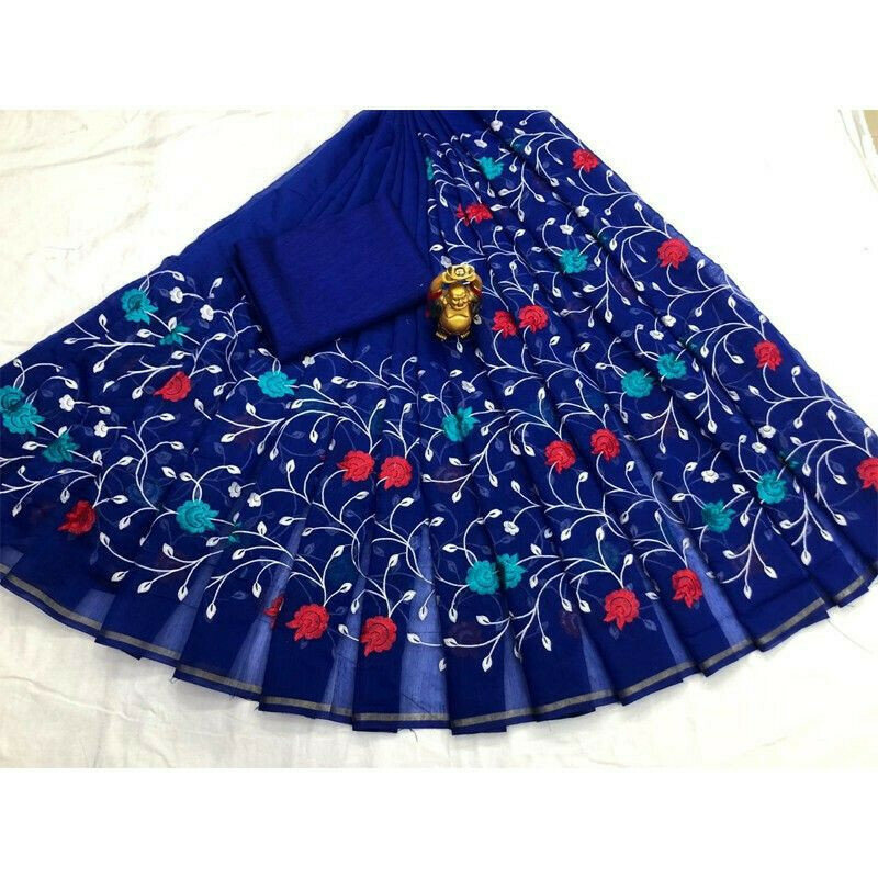 Blue South Cotton Designer Traditional Saree