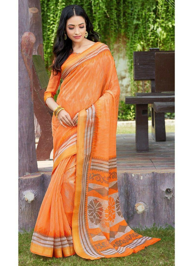 Bold And Gorgeous Orange Cotton Saree