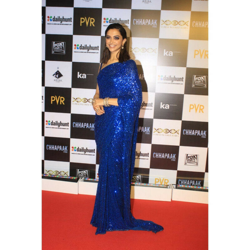 Bollywood Party Wear Deepika Royal Blue Sequence Saree (Blue)