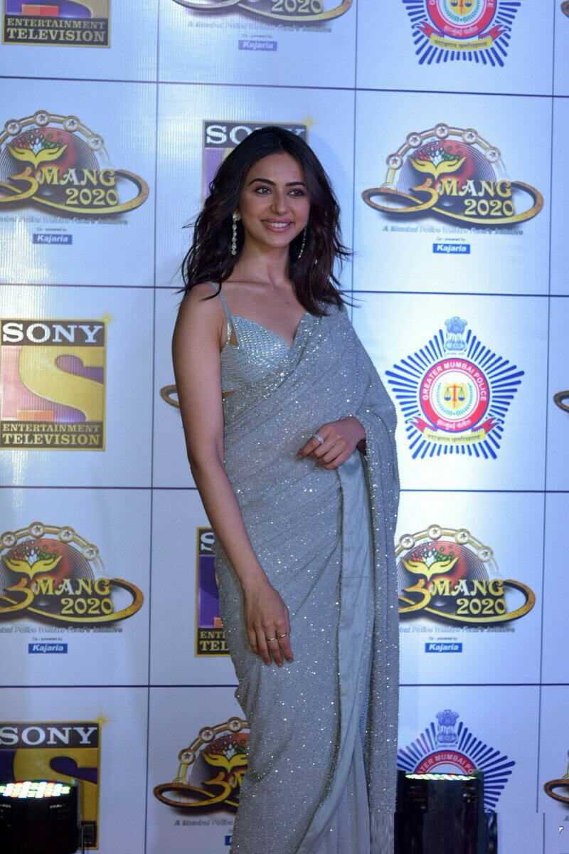 Bollywood Style Rakul Preet Singh Wear Grey Color Georgette Fancy Saree