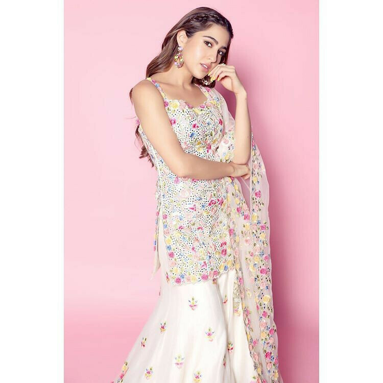 Bollywood Style Sara Ali Khan Wear White Floral Embroidery Sharara Suit 2020